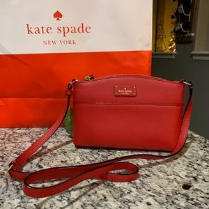 NWT Authentic Kate Spade Red leather Crossbody